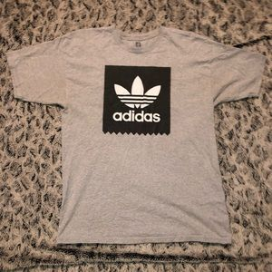Adidas Grey and Black Trefoil Box Tee Shirt